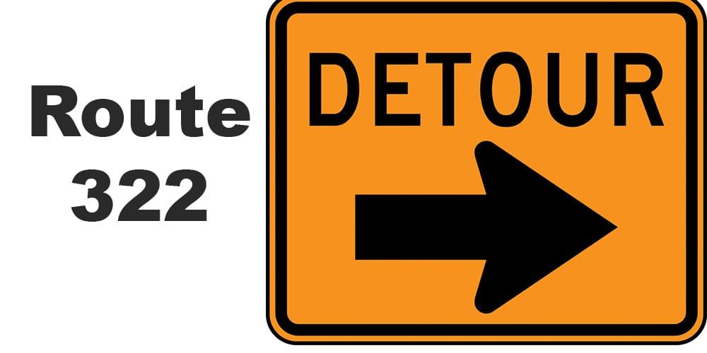 New Route 322 Detour begins April 12